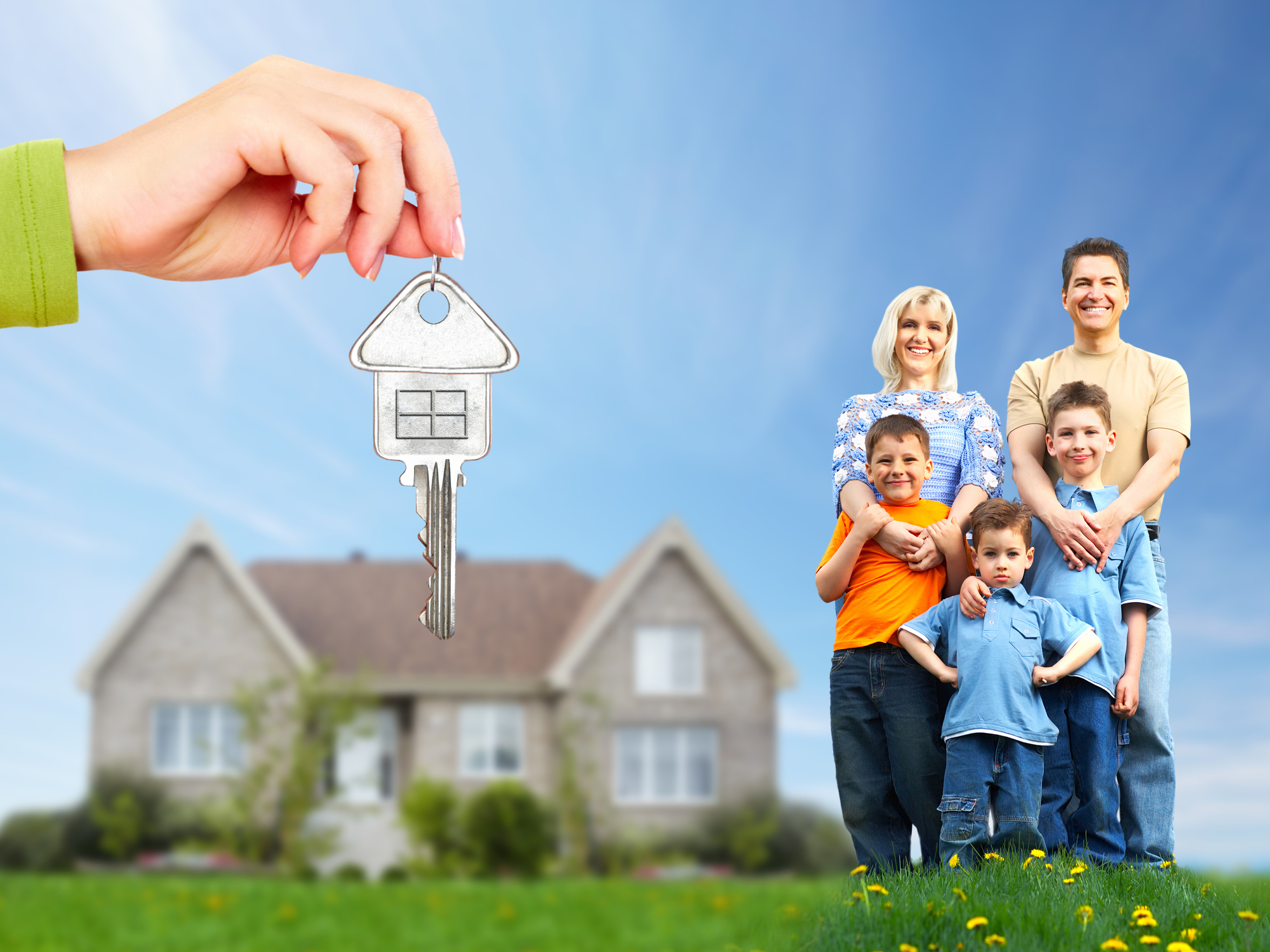 http://www.dreamstime.com/royalty-free-stock-photos-happy-family-near-new-house-real-estate-image35582048
